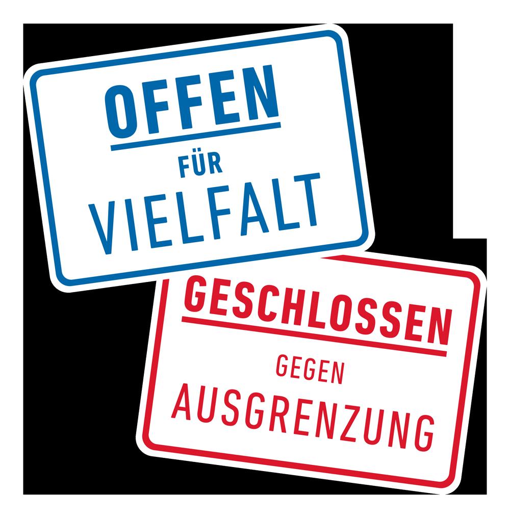 Logo Offen für Vielfalt - Geschlossen gegen Ausgrenzung